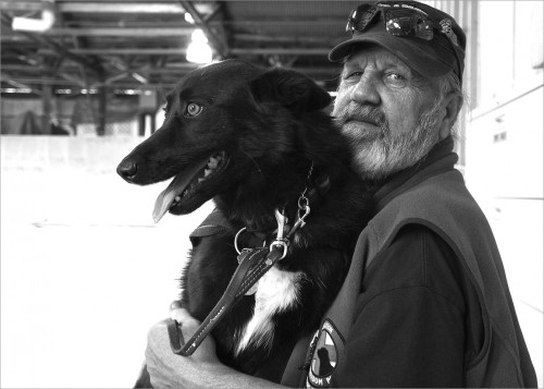 US Army veteran Ed Shaffer and his service dog Panther. Ed served two tours in Vietnam, endured an unspeakable homecoming and had difficulty fitting back into life at home. Like many Vietnam Vets, he lived in silence and confusion for more than 40 years until he was diagnosed with PTSD and ailments from Agent Orange.